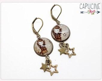 Stars earrings - Chandelier earrings - Glass dome girlie earrings