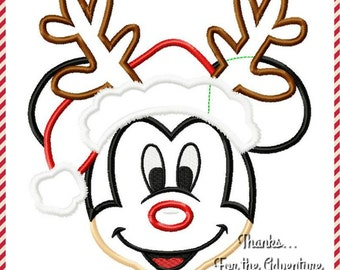 Christmas Santa Mickey Mouse Reindeer Digital Embroidery Machine Applique Design File 4x4 5x7 6x10
