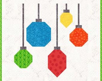 "Christmas Ornaments Quilt Block Pattern, PDF, Instant Download, modern patchwork, 12"" quilt block"