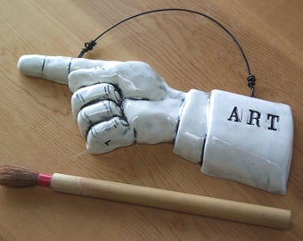 Art. Pointing Finger.   Fired Ceramic.  Recycled Clay.  Art Show Sign.  Ready To Ship.