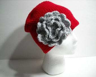 OSU - Ohio State Buckeyes Inspired Adult Hat With Flower - Crochet