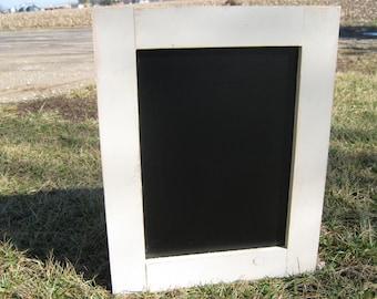 Cream white distressed chalkboard almond color off white chalk board black board message center home organization blackboard