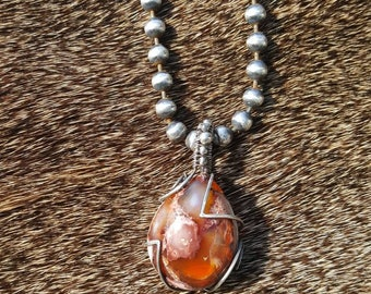 Sterling Silver and Mexican Boulder  Fire Opal pendant necklace