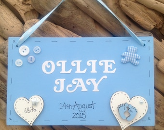 Handmade Personalised New Baby Newborn  Plaque Sign Perfect Gift