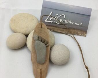 Pebble Footprint Ornament ~ unique baby gift, newborn gift, baby shower gift, nursery decor, baby feet, beach art, nature art, original art