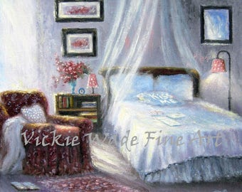 Bedroom Art Print, love letters, lavender, pink, blue, romantic, girls room, kiss me pillow, teen girls bedroom painting, vickie wade art