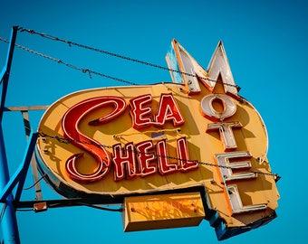 Sea Shell Motel Print   Wildwood NJ   Neon Sign Print   Wildwood New Jersey   Neon Sign Art   Wildwood Art   Retro Wall Art   Beach Decor