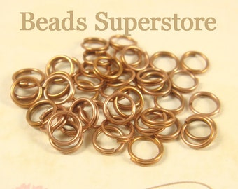 5 mm Antique Copper-Plated Brass Split Ring - Nickel Free and Lead Free - 50 pcs (SR5AC)