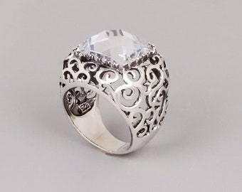 Filigree Stone Ring, Sterling Silver Gemstone Ring, Filigree Ring, Large Lace Ring, Chunky Boho Ring, Victorian Ring, Onyx, Garnet, Citrine