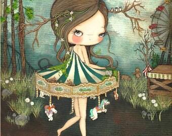 Carousel Print Merry Go Round Bear Carnival Girl The Forgotten Carnival