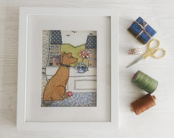 Handmade Waiting for Walkies Embroidered Picture. Ideal gift for any dog lover. Freehand work from sketches.