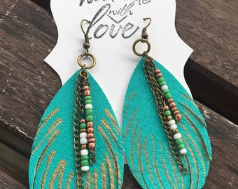 Turquoise drop faux leather feather earrings