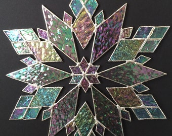 stained glass snowflake suncatcher (design 21B)
