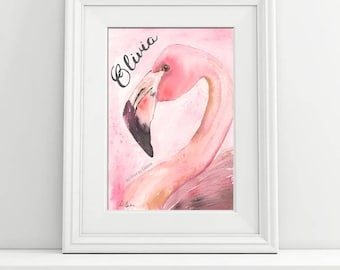 Pink Flamingo Girls Bedroom Baby Nursery Wall Art, Personalized, Abstract Flamingo Watercolor Painting Print, Coral Tropical Nursery Theme