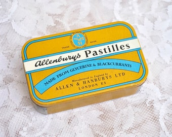 Vintage Allenburys Pastilles Tin / Made With Glycerine And Black Currants By Allen And Hanburys LTD / Empty Tins And Containers / England