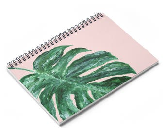 Pink Palm Leaf Notebook, pink notebook, palm leaf notebook, leaf notebook, palm leaf journal, pink journal, tropical notebook
