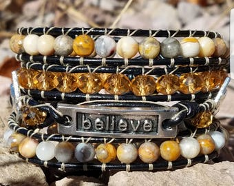 Believe a 4 row leather wrap bracelet makes the perfect gift for someone or yourself
