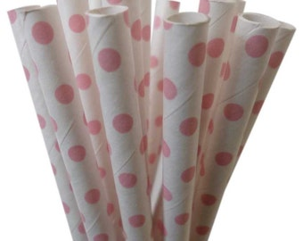 Light PINK Polka Dot Paper Straws | Pink Polka Dot | Minnie Mouse Party Decor | Pink Party Decor | Pink Baby Shower | Pink Birthday Party