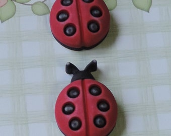 Ladybug Buttons, Shank Back Novelty Buttons by Buttons Galore, Carded Set of 3, Spring Fling Collection, 3D, Bright, Detailed Buttons
