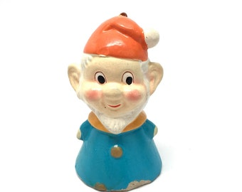 Vintage Elf Christmas Ornament, Gnome,Composition, Paper Mache, Japan, 1960
