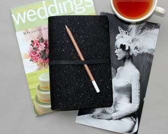 A5 Travelers Notebook Cover in Modern Black Glitter. A5 Planner Cover for A5 Planner Inserts. Travelers Notebook A5 Cover. A5 Fauxdori Cover