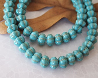 Strand Turquoise Howlite Gemstone Beads Shape Pumpkin Rondelle Fluted Blue Green Turquoise Size 12x8mm 15 inch strand