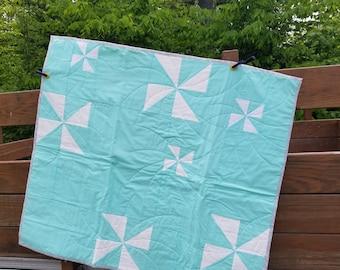 Teal Pinwheel Baby Quilt