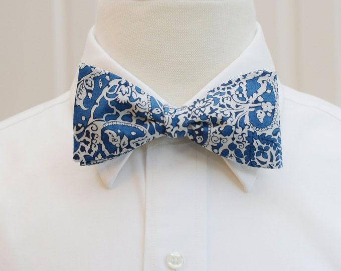 Men's Bow Tie, Liberty of London blue/ivory paisley bow tie, Lagos Laurel print, groomsmen/groom bow tie, wedding bow tie, tux accessory,
