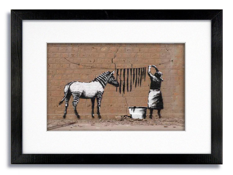 Banksy Zebra-Streifen montiert & gerahmten Druck