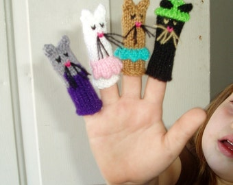 Three Little Kittens Finger Puppet Set.  (Includes 3 Little Kittens and 1 Mama Cat.)  We can create custom orders.