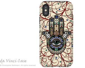 Hamsa Hand Evil Eye - Artistic iPhone X Tough Case - Dual Layer Protection for iPhone 10 - Sacred Defender Hamsa by Da Vinci Case