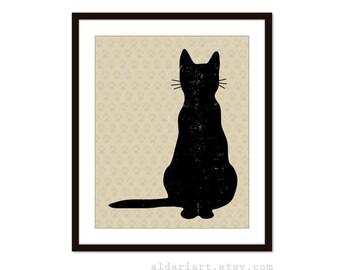 Black Cat -  Art Print  - Modern Poster - Pet Wall Art - Halloween Decor- Under 20