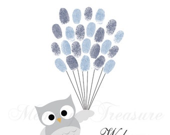Baby Shower Guest Book Alternative Owl Thumb print Guestbook Owl Finger print Guestbook Owl Baby Shower Thumb print Owl Children Birthday