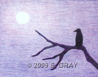 ACEO SFA Night Watcher print of drawing crow raven moon gothic Halloween tree limited edition art nitelvr