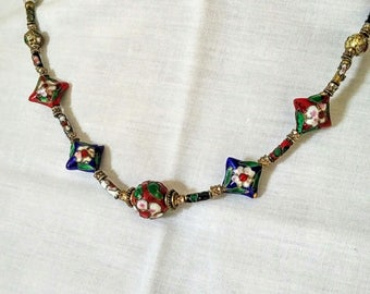 Vintage cloisonne beaded necklace with brass closure, Red and blue cloisonne neclace