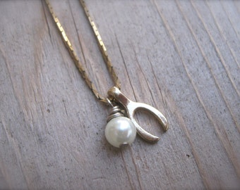 Necklace Wishbone and Pearl. Make A Wish Necklace. Pearl and Gold Wishbone. White and Gold Vintage Snake Chain Wishbone Charm Necklace.