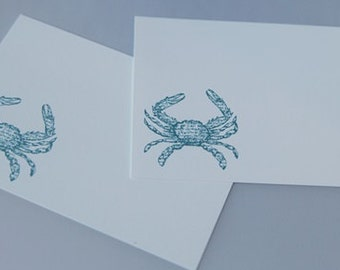 Blue Crab Stationery Note Card Set of Eight, Wedding Guest Book Alternative, Recipe Cards, Coastal Note Cards, Beach Theme Notes