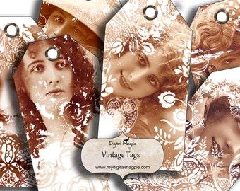 printable tags collage sheet digital vintage ladies victorian gift tag scrapbook ephemera
