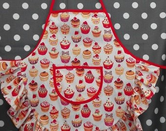 Child apron with ruffle cupcake red/beige 3-4 years
