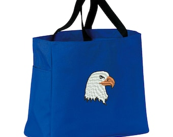 Eagle Tote Bag. Embroidered Bald Eagle Tote. Bald Eagle Tote Bag. Market Tote. Shopping Eagle Bag. SM-B0750