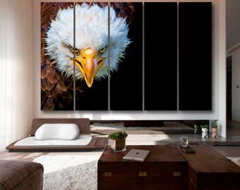 Angry north american bald eagle on black background, Eagle Canvas Wall Art Eagle Wall Decoration Eagle Canvas Wall Art Art Eagle Large