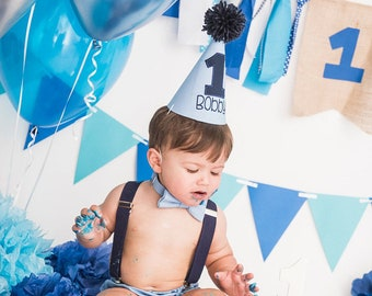 Boys Blue Smash Cake Outfit with Hat