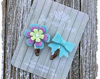 READY TO SHIP, Lavender Light Green Aqua Wool Felt Flower Mini Bow Clip Set, Baby Clips, Infant Girls Adult Mini Snap Clips