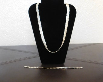 925 Italy Sterling Silver Necklace and Bracelet Set - Woven Design - Vintage with 30 grams of Silver