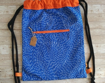 Backpack. Blue and orange
