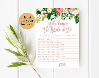 Who Knows the Bride Best Editable Tropical Bridal Shower Game Bridal Shower Printables Bridal Shower Know The Bride Quiz Know the bride game