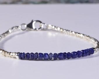 Sapphire Bracelet Beaded Bracelet Precious Stone bracelet Birthstone Jewelry Birthday Gift Idea stacking bracelets