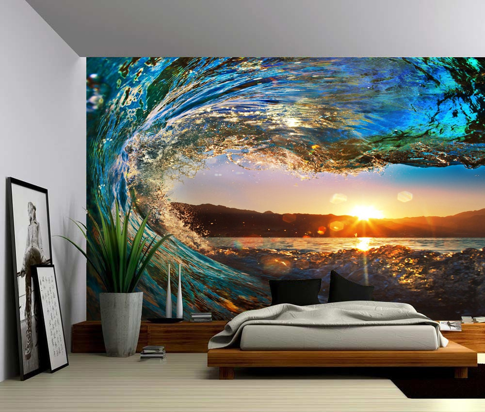 Sunset Sea Ocean Wave Large Wall Mural Self Adhesive Vinyl