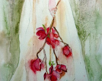 the branch of flowers watercolor