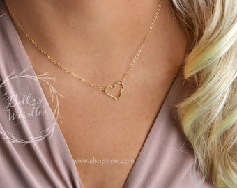 Heart Necklace, Love Necklace, Gold heart necklace, Rose Gold necklace, Delicate Necklace, gift for mom, gift for her LA120